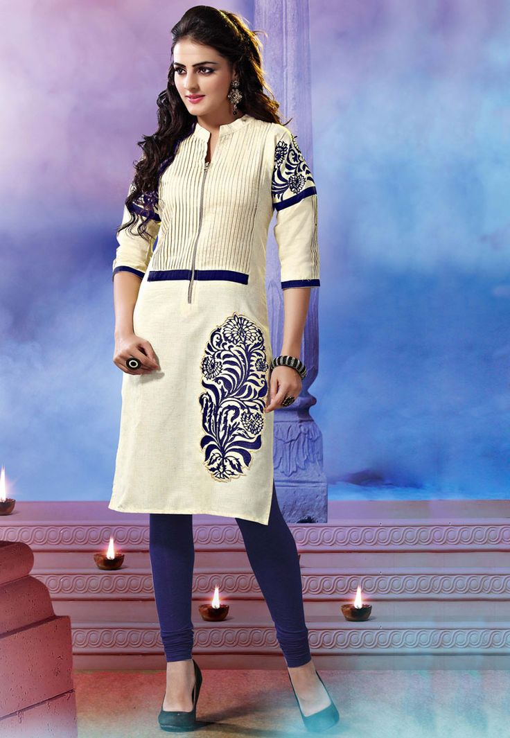 Revamp your #ethnic collection with this modish Off #white #Color Khadi Cotton Designer #Kurti which is accompanied with a Blue colour bottom. The kurti features embroidered patch, floral embroidery, lace and zip embellishments