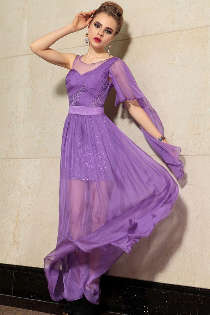 Chiffon-Ruched-Beaded-Purple-Party-Dress
