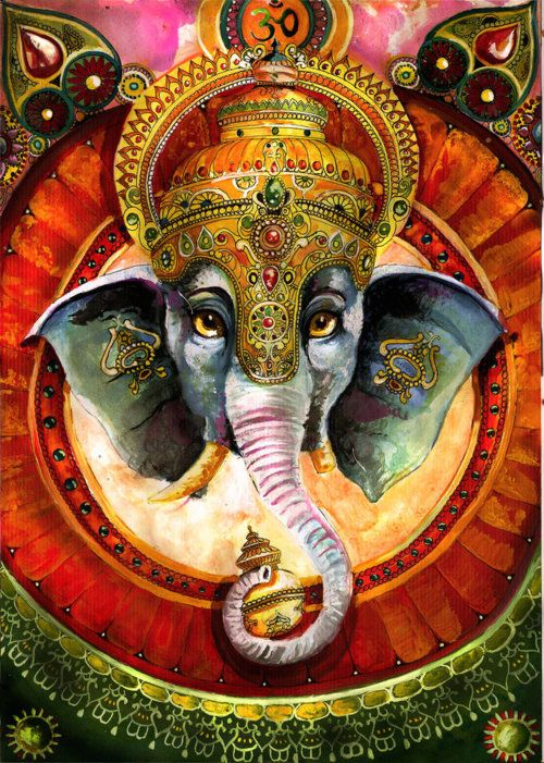 Lord Ganesha as the blend of human and animal parts symbolizes the ideals of perfection as conceived by Hindu sages and illustrates some philosophical concepts of profound spiritual significance.