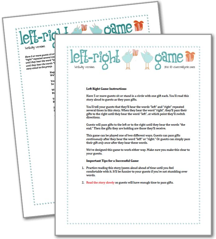 Left right game for adult birthday party parties for Birthday games ideas for adults