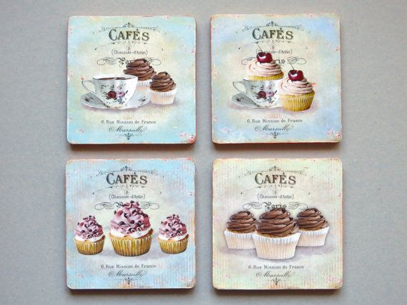 Wooden coasters with Decoupage, kitchen  decor