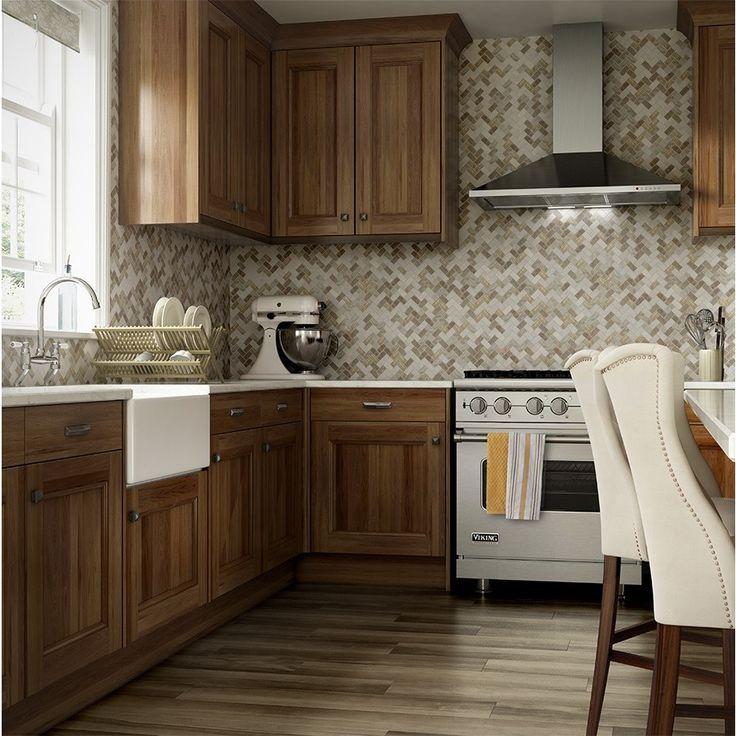 Kitchen Backsplash Neutral: Allen + Roth Marble Beige Herringbone Mosaic Marble Wall