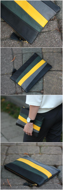 Tassel Clutch, Tassel Bag, Leather Clutch, Clutch Bag, Striped Clutch, Colorful Clutch, Zipper Clutch Bag, Leather Tassel Bag, Yellow Style