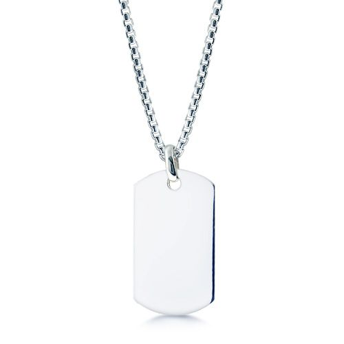 Single XL Sterling Silver Men's Dog Tag Necklace w/t Box Chain (Engravable ) silver necklace for men