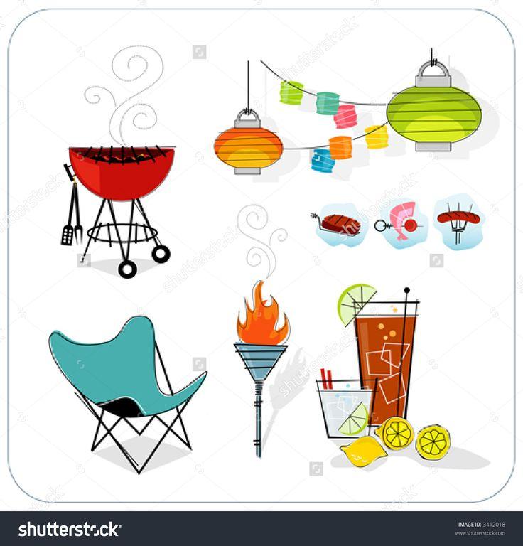 midcentury modern Summer Icon Set. Paper Lanterns, Barbeque, Tiki Torch ...