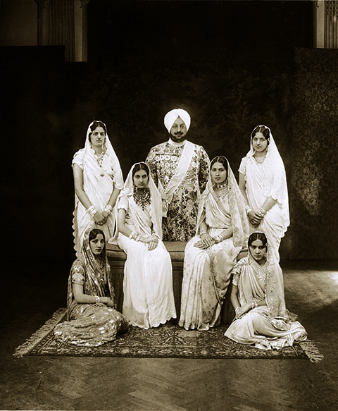 Maharaja Bhupinder Singh of Patiala with his family, 1930.