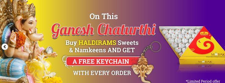 #HappyGaneshChaturthi On this Ganesh Chaturthi buy haldiram's sweets & namkeen and yes get a free ganpati keychain...lets do..