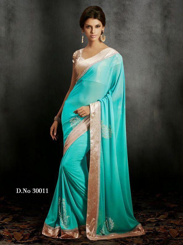 Gorgeous Mint Colored Designer Chiffon Saree D-30011                                                                                                                                                                                 Plus