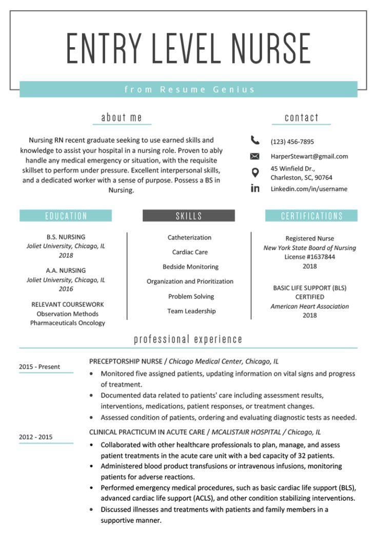 Entrylevel nurse resume sample nursing resume template