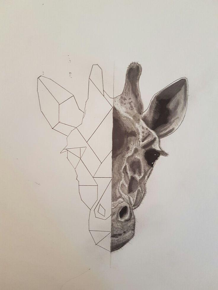 geometric giraffe tattoo design #tattoodesign #geometric #giraffe #drawing #art