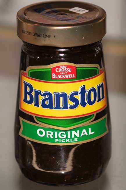 Branston Pickle is made from a variety of diced vegetables, including turnips,carrots, onions, cauliflower and gherkins pickled in a sauce made from