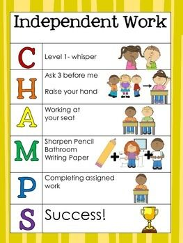 CHAMPS posters by Kindergarten Daze | Teachers Pay Teachers