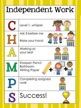 CHAMPS posters by Kindergarten Daze   Teachers Pay Teachers