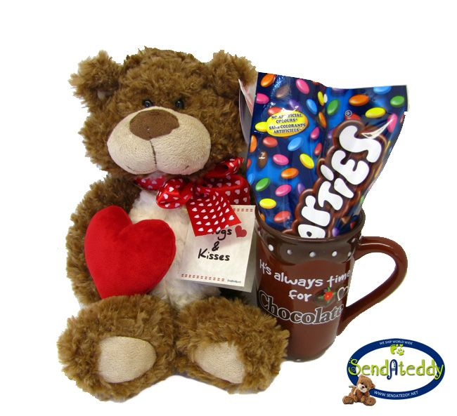 """It is always time for chocolate"" mug & Teddy Bear. http://www.sendateddy.net/teddybear-gifts.php#!/~/product/category=6360291&id=37734058 #sendateddy #teddybeargifts"