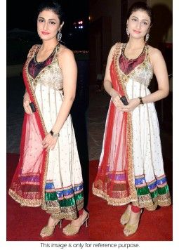 Bollywood Style Ragini Khanna 60 GM Georgette Suit In Off White and Red Colour NC1294