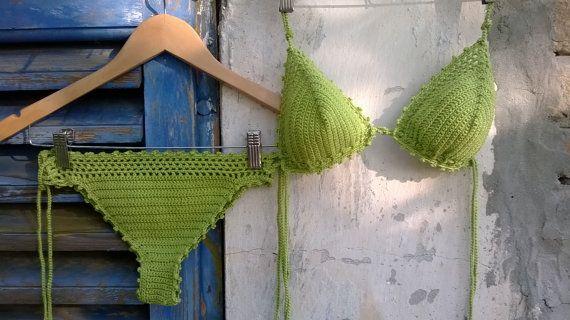 Green grass crochet bikini  Boho Bikini by GoodMoodCreations
