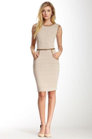 Sharagano Belted Contrast Chevron Dress on HauteLook