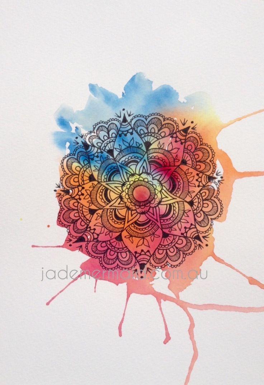 "A4 print of original ""Flower Mandala"" artwork by Kayleigh Rowbottam. High quality print on Hahnemuhle 100% rag textured watercolour paper"