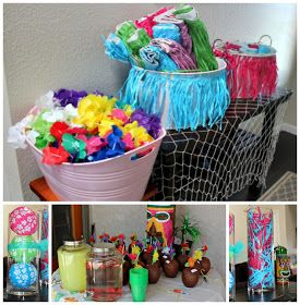 The NapTime Reviewer: Luau Party Ideas--like the fish net decor idea, link shows how to make umbrella wreath, other ideas