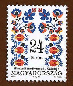 Hungarian stamp with Kalocsai embroidery motif
