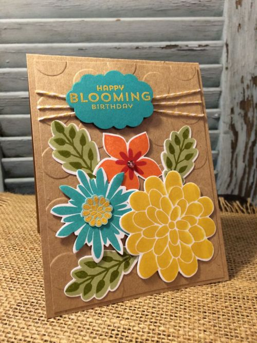 Robin's cheerful card: Flower Patch & its framelits, Word Bubbles framelits, Large Polka Dot embossing folder, & more. All supplies from Stampin' Up!