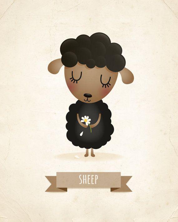 Lámina de ovejas decoración cuarto de niños por IreneGoughPrints