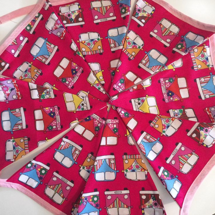 VW Camper Van Pink Bunting by SewphiesChoice on Etsy