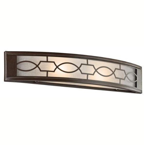 Kichler Lighting 45351MIZ Punctuation Bathroom Light, Mission Bronze by Kichler Lighting. $189.00. From the Manufacturer                Light Bulb:(1)60w T3 Cand 120v Krypton/Xenon Punctuation Two-Light Vanity Sconce. Whether you're hoping to add a '!' in a room or you want to leave people wanting more..the Punctuation fixture delivers. A perforated metal filigree pattern surrounds white linen glass shades, creating a unique style. The deep, rich Mission Bronze fin...