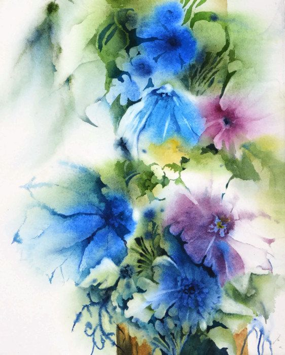 Watercolor flower print watercolor painting original art for Abstract watercolour flowers