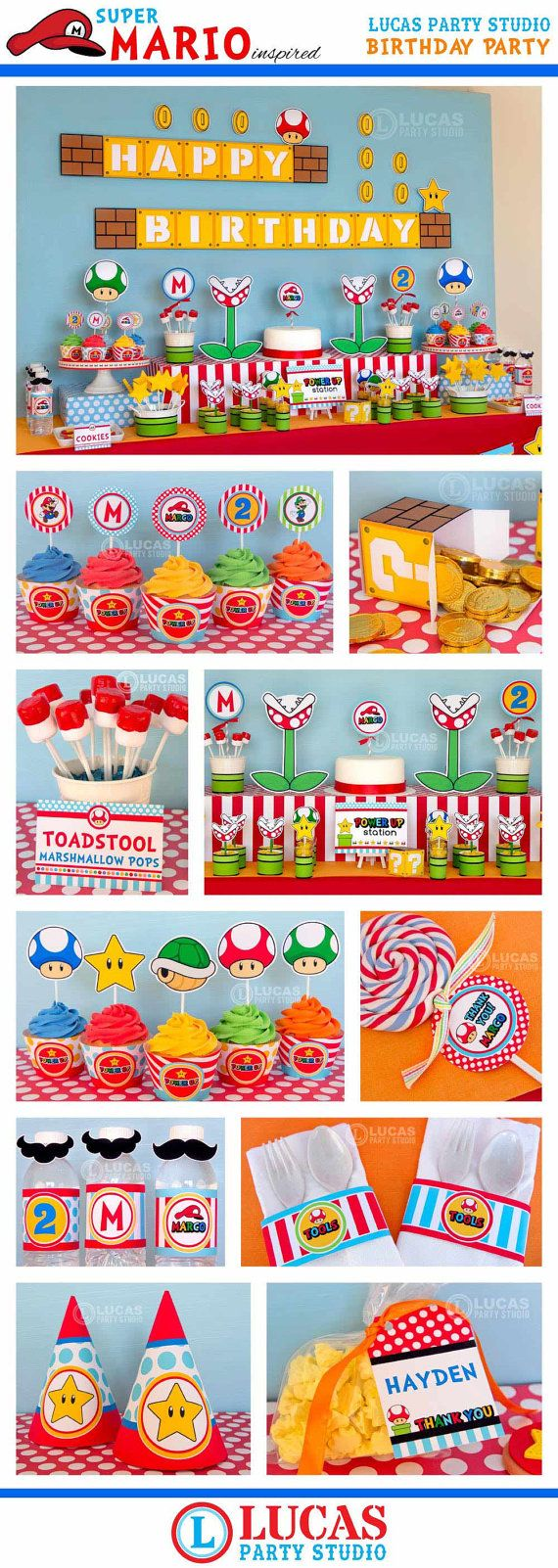 Super Mario Inspired Birthday Party  DIY by LucasPartyStudio, $35.00