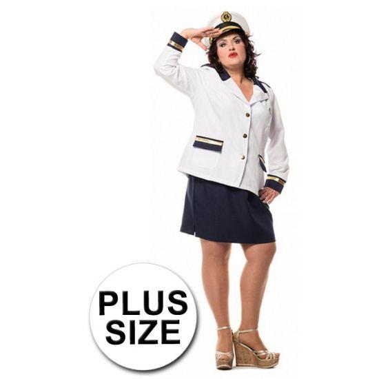 Grote maat kapitein dames kostuum. Dit kostuum bestaat uit een colbert en een blauwe rok. Het jasje is afgewerkt met knopen en zak flappen.