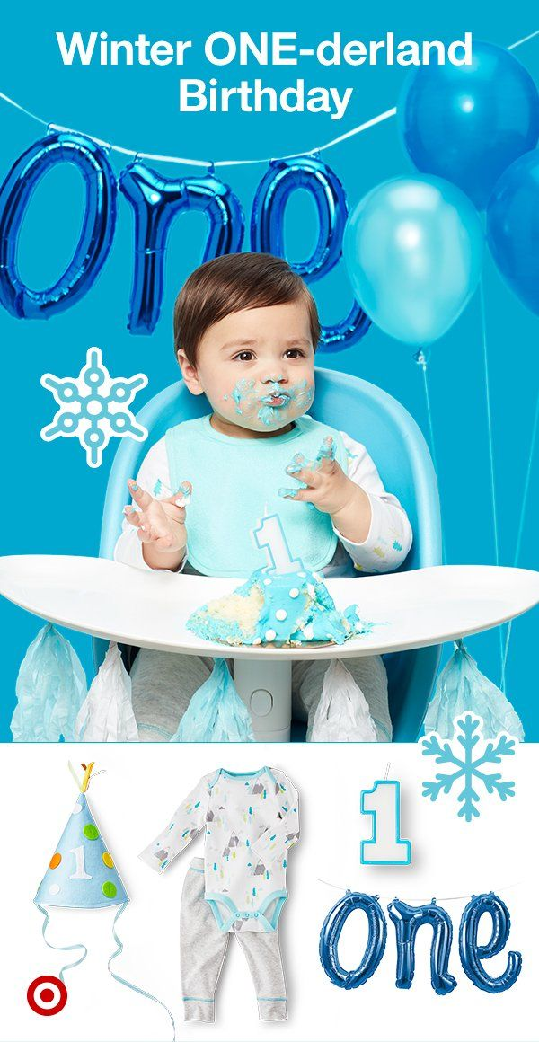 Happy 1st birthday, winter baby! It's amazing at how fast that first year goes! Embrace the season's cool colors by creating your own festive, winter wonderland with cool blues and bright white hues—find everything from party hats and decor from Spritz, candles, balloons, birthday cake and more at Target. And… don't forget the smash cake (it's free when you purchase a cake from your local SuperTarget Bakery). It's where the best photos come from! Enjoy!