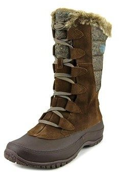 The North Face Nuptse Purna Women Round Toe Suede Brown Snow Boot.