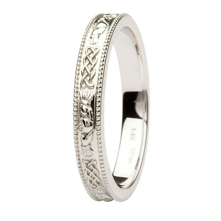 Claddagh and Celtic Knot Wedding Band