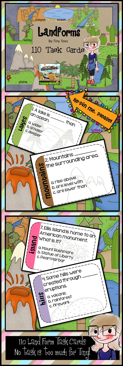 Looking for a great way to practice landform facts? These Task Cards just might be exactly what you've been searching for!    These are super simple to use. A recording sheet is provided. All your student needs to do is pick which land form he wants to practice. The cards are all numbered and labeled by landform.     http://www.teacherspayteachers.com/Product/Landforms-Task-Cards-110-task-cards-for-11-different-landforms-common-core  $6