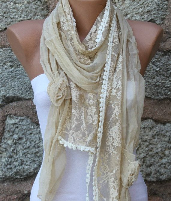 ON SALE - Yellow Lace Scarf Floral Scarf Shawl Scarf - Cowl - bridesmaid gifts best selling item scarf Women's Fashion Accessories