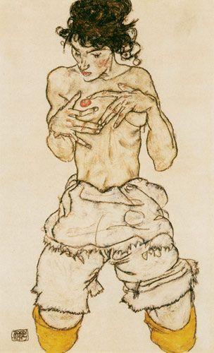 Egon Schiele - Femme agenouillée, à moitié nue