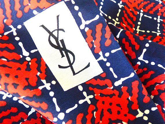 SAINT LAURENT Silk Scarf YSL Vintage 60s Navy Blue Red