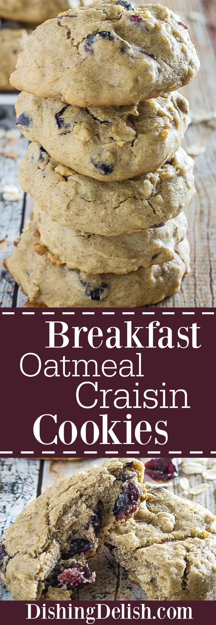 Gluten Free Breakfast Oatmeal Craisin Cookies bring my two favorite things in the world into one delicious morsel: Breakfast and Cookies! Sweet craisins make this cookie pop, along with wholesome oats, cinnamon, and allspice. These are perfect for running out the door in the morning, or savoring with a hot cup of coffee.