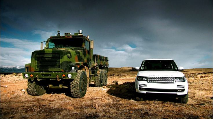 Range Rover vs. an unmanned truck.