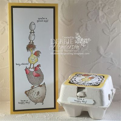 2017 TUTORIAL SALE A BRATION Tall Card and coordinating Mini Egg Carton. This card was created as a tall card to fit in a #10 envelope. Stamps: Hey, Chick Inks: Early Espresso, Sahara Sand, Daffodil Delight, Real Red, Tangerine Tango Cardstock: Whisper White, Daffodil Delight, Elegant Eggplant Tools: Clear Wink Of Stella, Stampin' Dimensionals, Classic Label Punch, Stitched Shapes Framelits Dies. Blender Pen, Project Life Corner Punch, Stamp-A-Ma-Jig, Mini Egg Cartons Lace Doilies