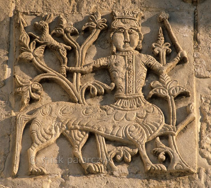 [RUSSIA.GOLDENRING 26.045] 'Centaur.'  Relief of a centaur on the facade of the 13th century Cathedral of St. George in Yuryev-Polskoi. The cathedral is famed for its many intricate stone carvings. Photo Mick Palarczyk.