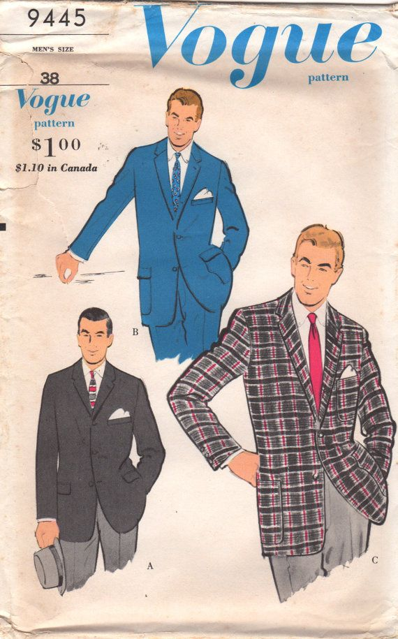 1960s Vogue 9445 Mens Sport Coat Pattern MAD MEN Adult Jacket vintage sewing pattern by mbchills