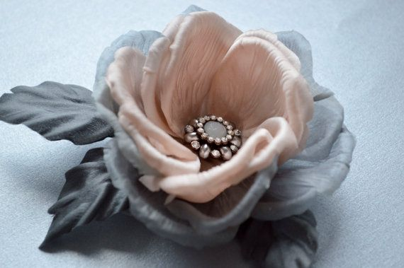 Pink & Grey Rose Hair Clip -  Hair Flowers - Floral Hairpiece - Floral Brooch - Bridesmaids  Flowers - Pin Up - Gray Hair Accessories