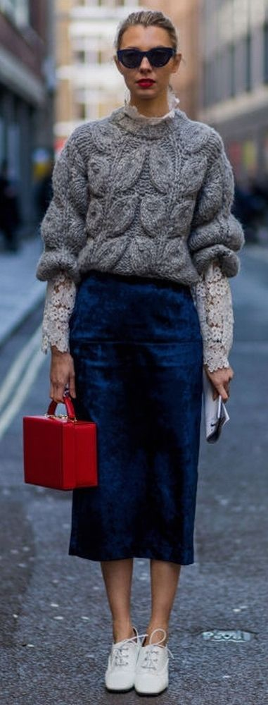 Love this look, grey, chunky cable sweater with a turtle neck lace blouse, red boxy bag and a high waisted velvet midi skirt in cobalt, paired with white lace shoes. FW 2016
