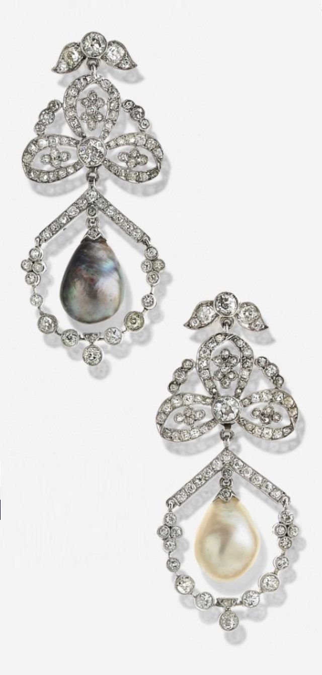 A Pair Of Vintage White Gold, Diamond And Pearl Earrings, Circa 1925 52