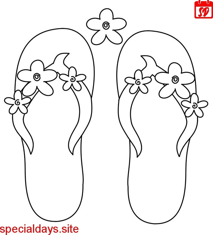 Scribbles Designs F 36 Flower Flip Flops Free Summer Coloring Pages Flip Flop Craft Coloring Pages