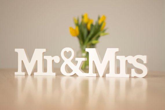 Hochzeit Herr Frau Zeichen Buchstaben Sweetheart Tabelle Zeichen Dekoration Herr und Frau White Letters Foto Prop