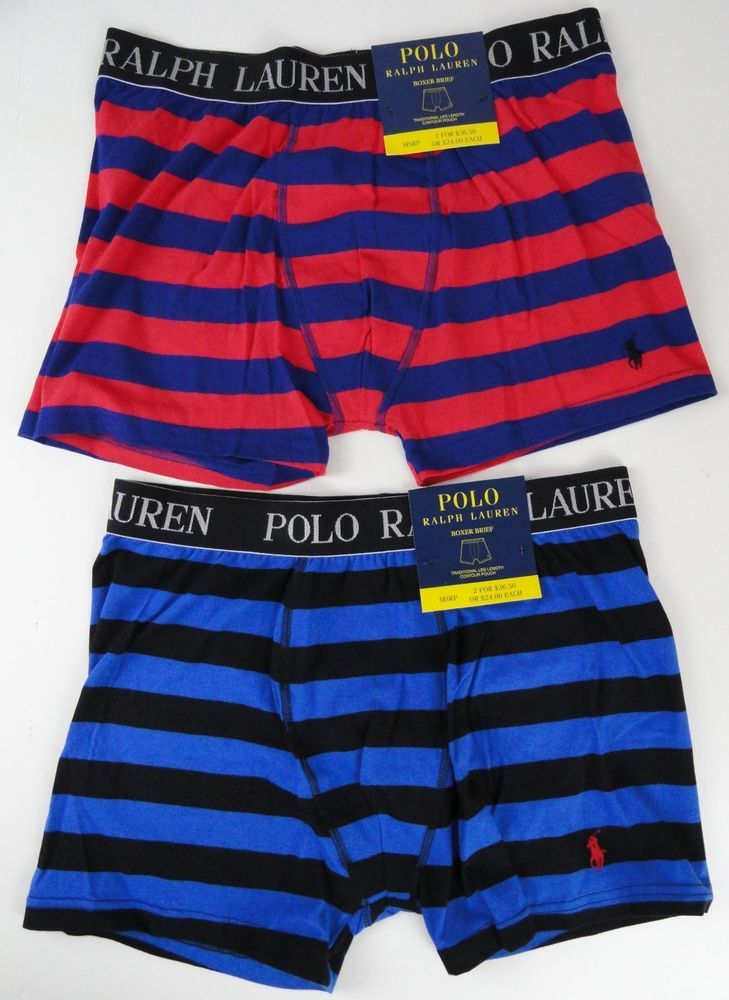 2 polo ralph lauren mens xl bold striped boxer briefs blue red black polos rugby and boxers. Black Bedroom Furniture Sets. Home Design Ideas