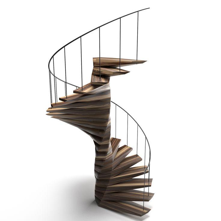 Винтовая деревянная лестница Б2 - wooden stairs B2